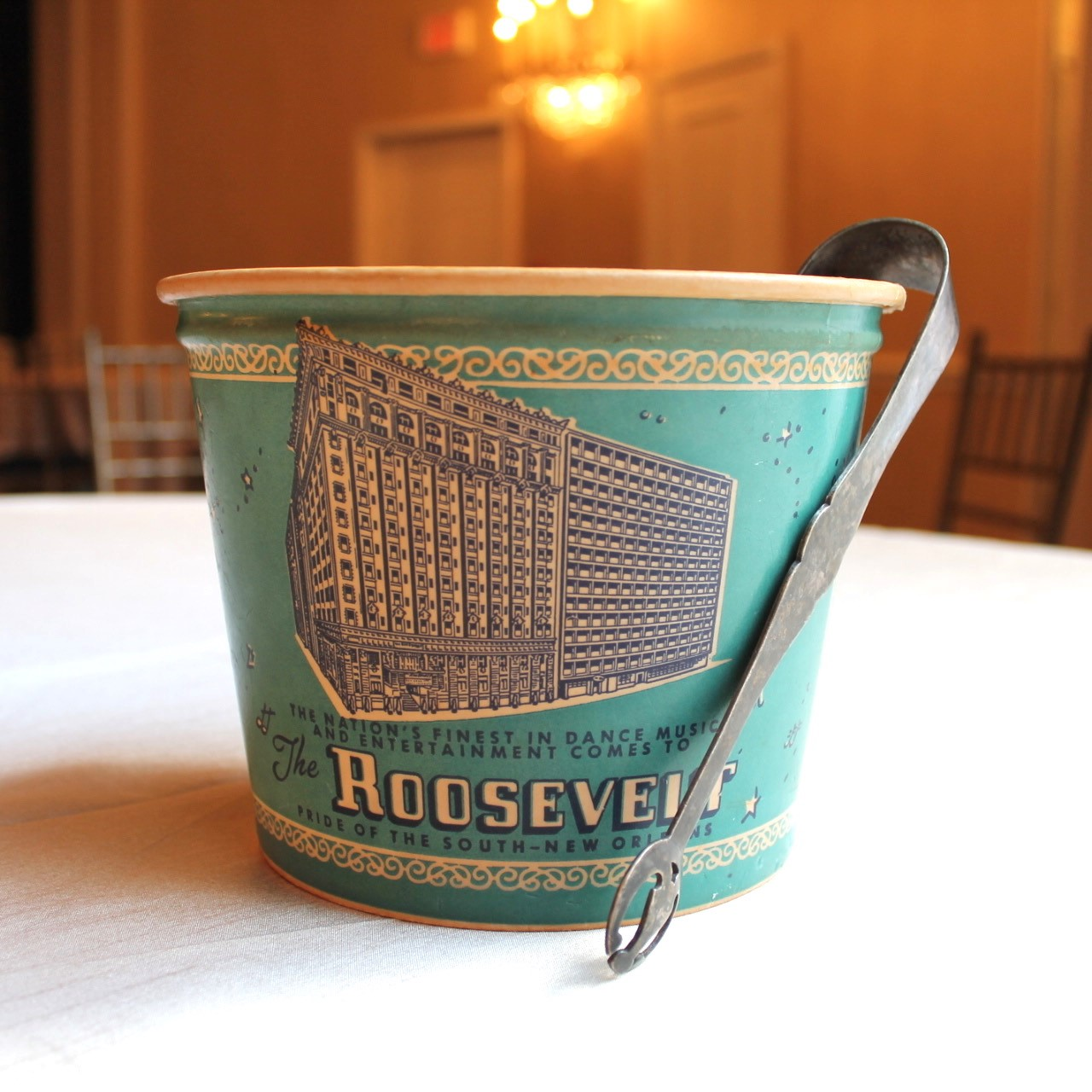 An ice bucket from mid the 1900s Roosevelt.