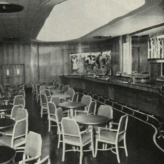 The Main Bar at The Roosevelt New Orleans in 1938. The Sazerac Bar would move into this space in 1949.