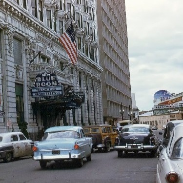 The Roosevelt New Orleans in 1960. The entrance to the Blue Room.