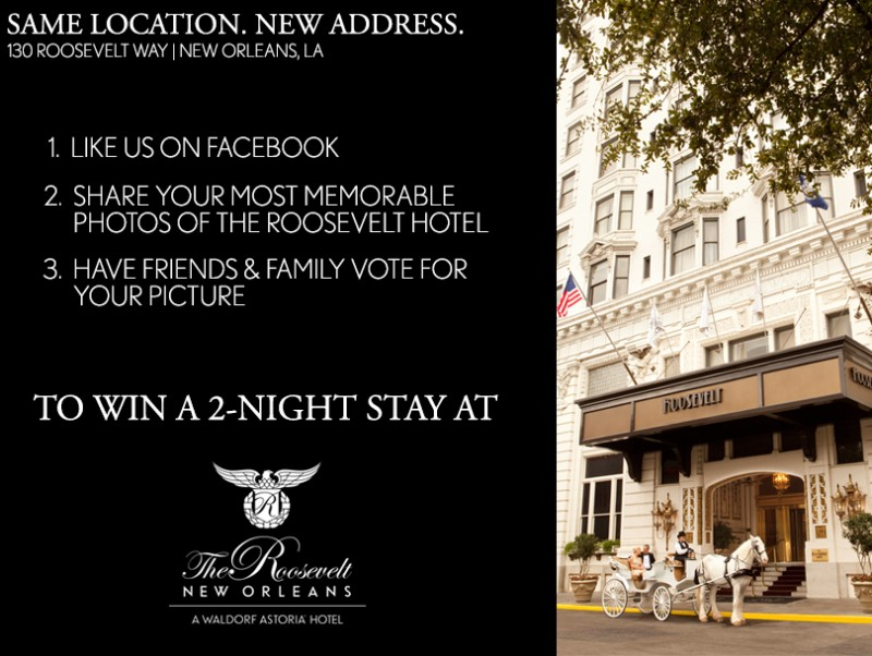 Enter to win a 2-night stay at The Roosevelt New Orleans, A Waldorf Astoria Hotel